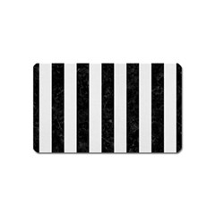 Stripes1 Black Marble & White Linen Magnet (name Card) by trendistuff