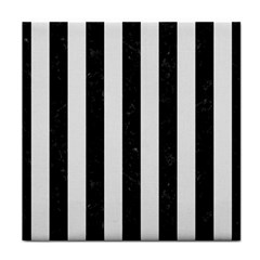 Stripes1 Black Marble & White Linen Face Towel by trendistuff