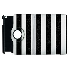 Stripes1 Black Marble & White Linen Apple Ipad 3/4 Flip 360 Case by trendistuff