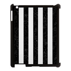 Stripes1 Black Marble & White Linen Apple Ipad 3/4 Case (black) by trendistuff