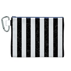 Stripes1 Black Marble & White Linen Canvas Cosmetic Bag (xl) by trendistuff