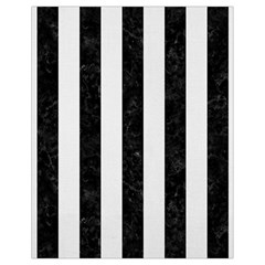Stripes1 Black Marble & White Linen Drawstring Bag (small) by trendistuff