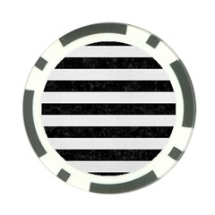 Stripes2 Black Marble & White Linen Poker Chip Card Guard by trendistuff