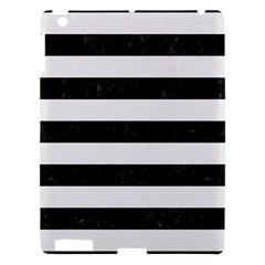 Stripes2 Black Marble & White Linen Apple Ipad 3/4 Hardshell Case by trendistuff