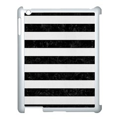Stripes2 Black Marble & White Linen Apple Ipad 3/4 Case (white) by trendistuff