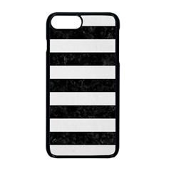 Stripes2 Black Marble & White Linen Apple Iphone 8 Plus Seamless Case (black)