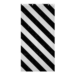 Stripes3 Black Marble & White Linen Shower Curtain 36  X 72  (stall)  by trendistuff