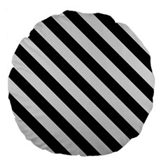 Stripes3 Black Marble & White Linen Large 18  Premium Flano Round Cushions by trendistuff