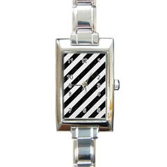 Stripes3 Black Marble & White Linen (r) Rectangle Italian Charm Watch by trendistuff