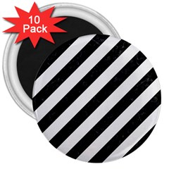 Stripes3 Black Marble & White Linen (r) 3  Magnets (10 Pack)  by trendistuff