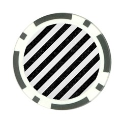 Stripes3 Black Marble & White Linen (r) Poker Chip Card Guard by trendistuff
