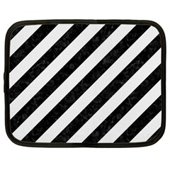 Stripes3 Black Marble & White Linen (r) Netbook Case (xxl)  by trendistuff