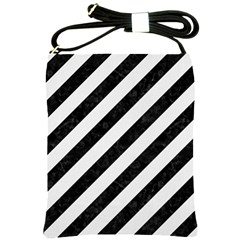 Stripes3 Black Marble & White Linen (r) Shoulder Sling Bags by trendistuff
