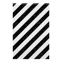 Stripes3 Black Marble & White Linen (r) Shower Curtain 48  X 72  (small)  by trendistuff