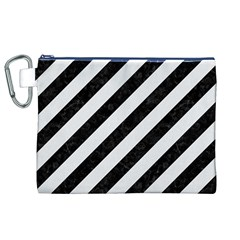 Stripes3 Black Marble & White Linen (r) Canvas Cosmetic Bag (xl) by trendistuff