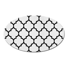Tile1 Black Marble & White Linen Oval Magnet by trendistuff