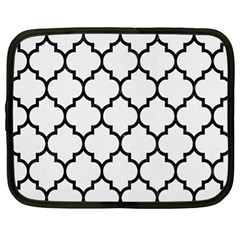 Tile1 Black Marble & White Linen Netbook Case (xl)  by trendistuff