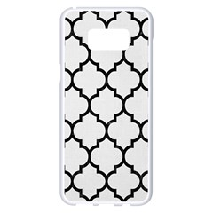 Tile1 Black Marble & White Linen Samsung Galaxy S8 Plus White Seamless Case by trendistuff