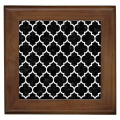 Tile1 Black Marble & White Linen (r) Framed Tiles by trendistuff