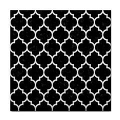 Tile1 Black Marble & White Linen (r) Face Towel by trendistuff