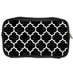 Tile1 Black Marble & White Linen (r) Toiletries Bags 2 Side by trendistuff