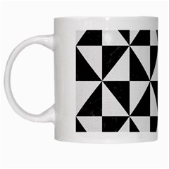 Triangle1 Black Marble & White Linen White Mugs