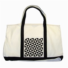 Triangle1 Black Marble & White Linen Two Tone Tote Bag by trendistuff
