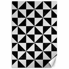 Triangle1 Black Marble & White Linen Canvas 20  X 30