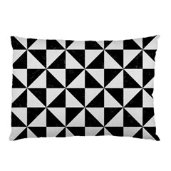 Triangle1 Black Marble & White Linen Pillow Case by trendistuff
