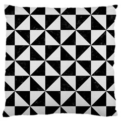 Triangle1 Black Marble & White Linen Large Cushion Case (two Sides) by trendistuff