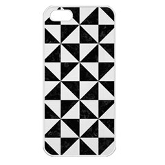 Triangle1 Black Marble & White Linen Apple Iphone 5 Seamless Case (white)
