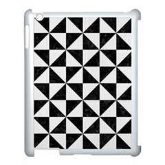 Triangle1 Black Marble & White Linen Apple Ipad 3/4 Case (white) by trendistuff