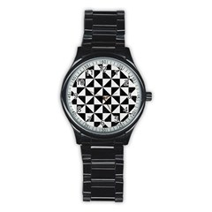 Triangle1 Black Marble & White Linen Stainless Steel Round Watch by trendistuff