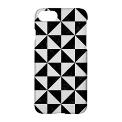 Triangle1 Black Marble & White Linen Apple Iphone 7 Hardshell Case by trendistuff
