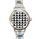 TRIANGLE2 BLACK MARBLE & WHITE LINEN Round Italian Charm Watch