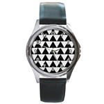 TRIANGLE2 BLACK MARBLE & WHITE LINEN Round Metal Watch