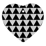 TRIANGLE2 BLACK MARBLE & WHITE LINEN Ornament (Heart)