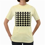 TRIANGLE2 BLACK MARBLE & WHITE LINEN Women s Yellow T-Shirt