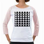 TRIANGLE2 BLACK MARBLE & WHITE LINEN Girly Raglans