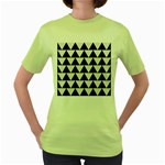 TRIANGLE2 BLACK MARBLE & WHITE LINEN Women s Green T-Shirt