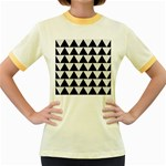 TRIANGLE2 BLACK MARBLE & WHITE LINEN Women s Fitted Ringer T-Shirts