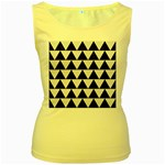TRIANGLE2 BLACK MARBLE & WHITE LINEN Women s Yellow Tank Top