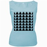TRIANGLE2 BLACK MARBLE & WHITE LINEN Women s Baby Blue Tank Top
