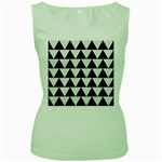 TRIANGLE2 BLACK MARBLE & WHITE LINEN Women s Green Tank Top