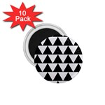 TRIANGLE2 BLACK MARBLE & WHITE LINEN 1.75  Magnets (10 pack)