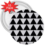 TRIANGLE2 BLACK MARBLE & WHITE LINEN 3  Buttons (10 pack)