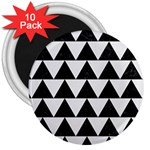 TRIANGLE2 BLACK MARBLE & WHITE LINEN 3  Magnets (10 pack)