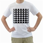 TRIANGLE2 BLACK MARBLE & WHITE LINEN Men s T-Shirt (White) (Two Sided)