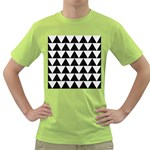 TRIANGLE2 BLACK MARBLE & WHITE LINEN Green T-Shirt