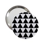 TRIANGLE2 BLACK MARBLE & WHITE LINEN 2.25  Handbag Mirrors